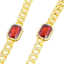 HipHop Bling Iced Out Red Stone Necklace, Miami Cuban Link Chain