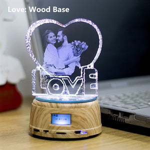Custom 3D Crystal Photo and Text LED Display Night Light