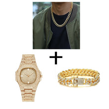 Hip Hop Iced Out Men Watch, Cuban Chain & Bracelet Set