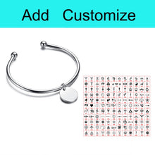 Personalized Laser Engrave Charm ID Bangle Bracelet