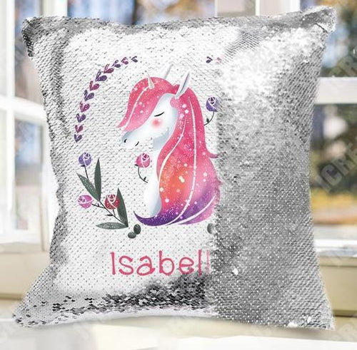 Personalize Name Unicorn Wreath Sequin Pillow Cushion Cover