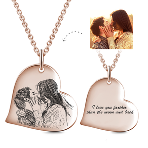 Heart Pendant Custom Photo Necklace- Personalized Heart With Photo And Text