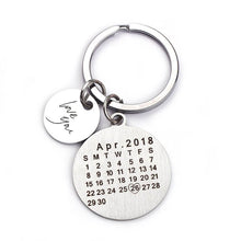 Personalized Calendar Keychain- Round Shape With Name, Initial and a Heart With Special Date