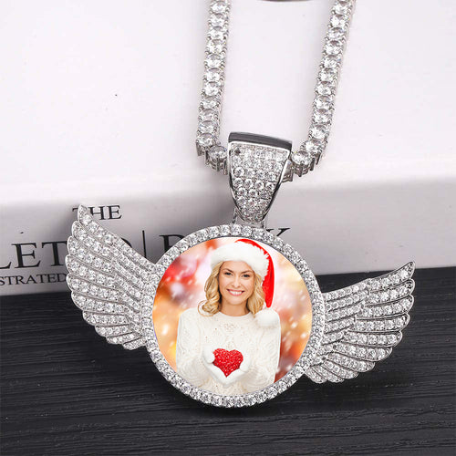 Custom Made Photo Wings Medallions Necklace- Best Christmas Gifts For Women