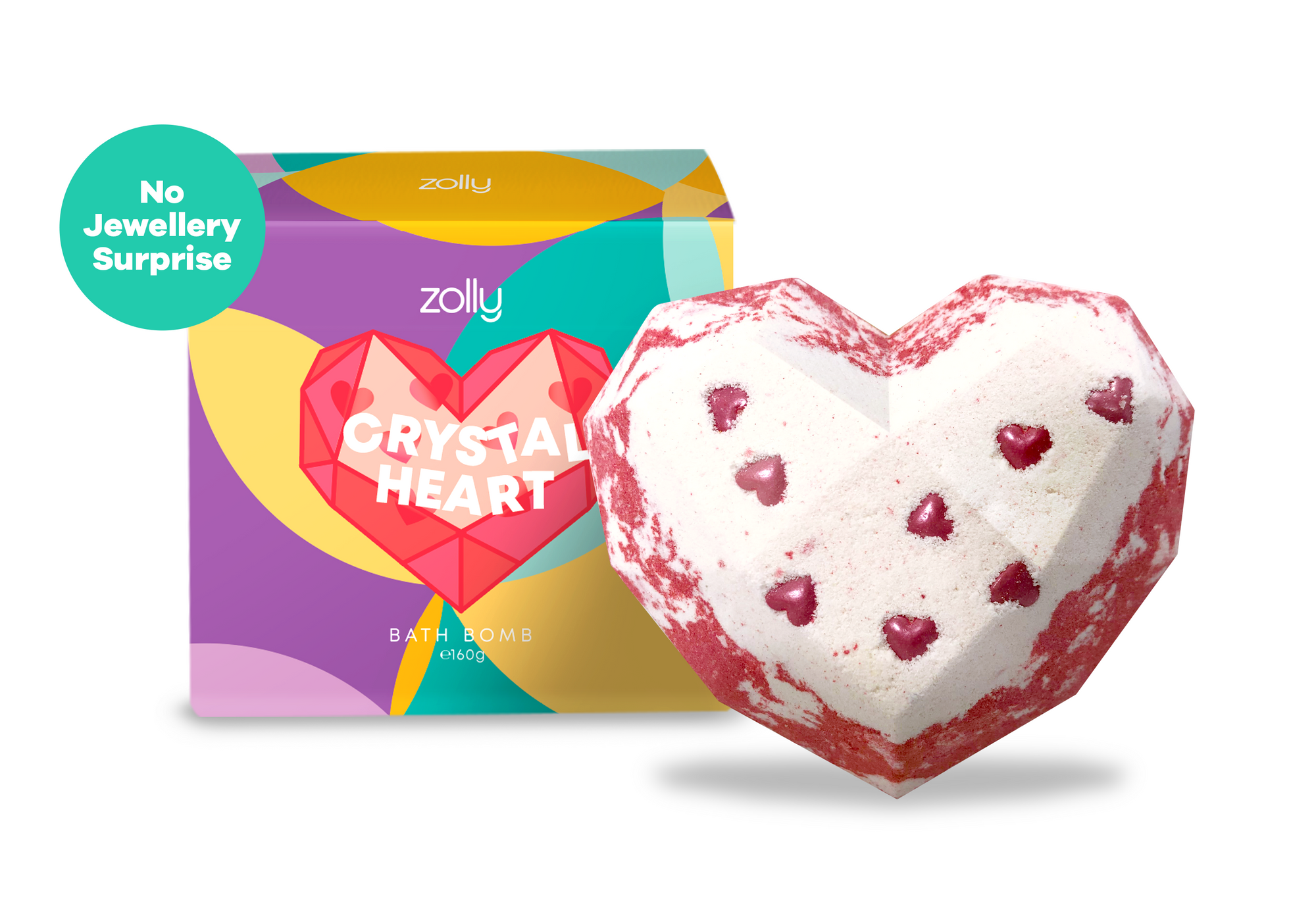 Crystal Heart Bath Bomb - 160g