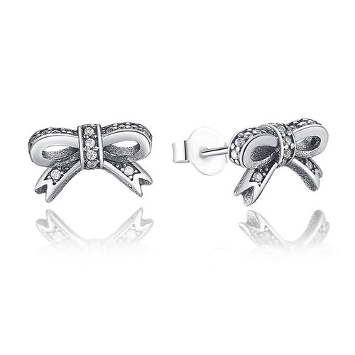 Genuine Sparkling Bow Stud Earrings For Women