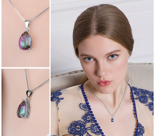 Genuine Multicolor Rainbow Fire Mystic Topaz Pendant For Women
