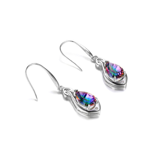 Water Drop Genuine Rainbow Fire Mystic Topaz Dangle Earrings For Women