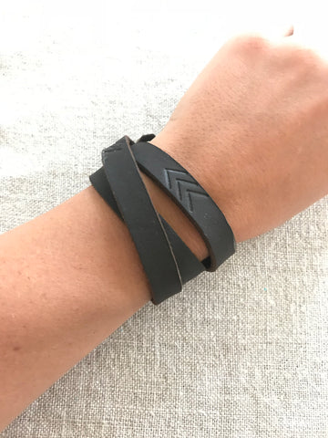 Leather Wrap Bracelets with arrow logo *Made in Haiti