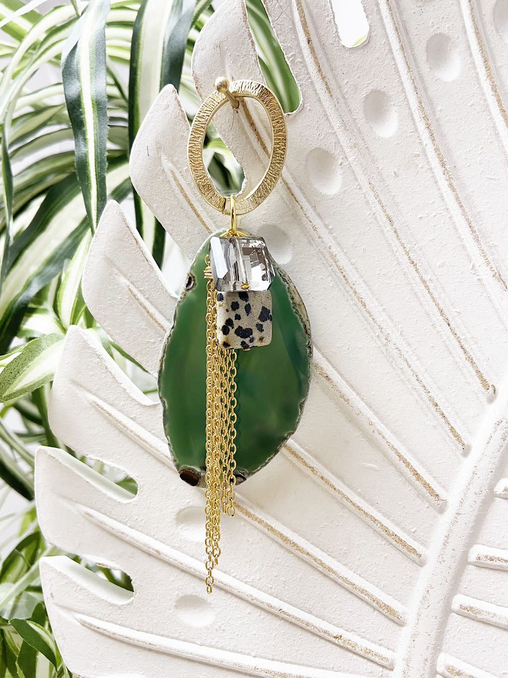 dalmatian jasper and green agate eye catcher