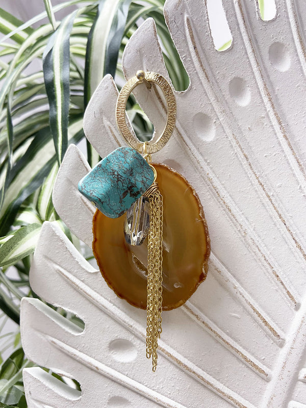 turquoise and mustard agate eye catcher