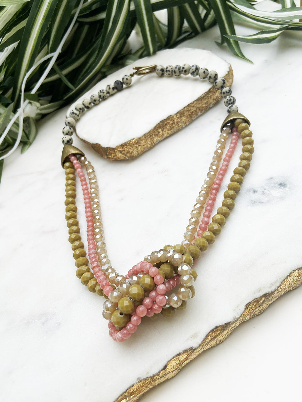 moss green and rhodochrisite uptown necklace