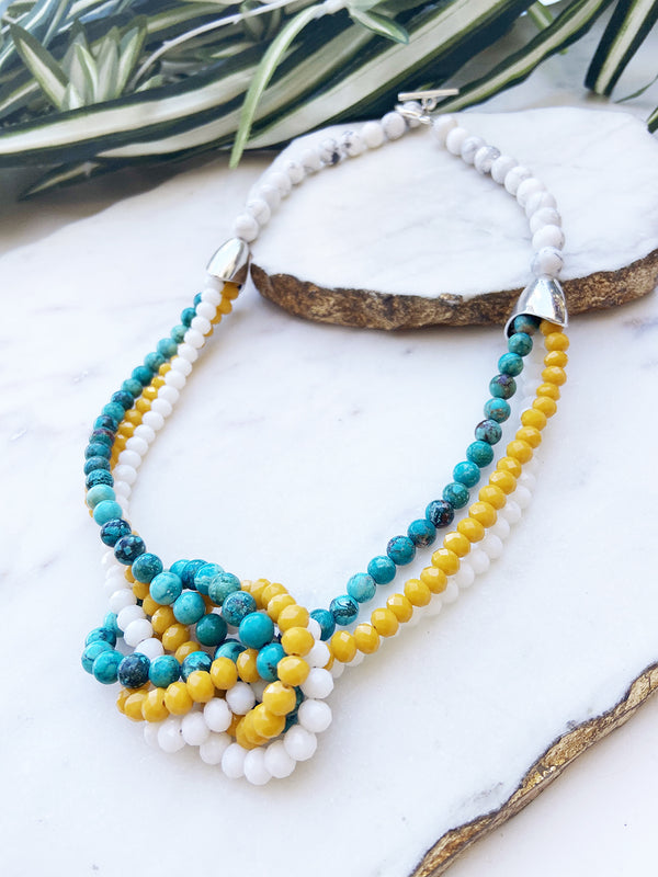 turquoise and yellow uptown necklace