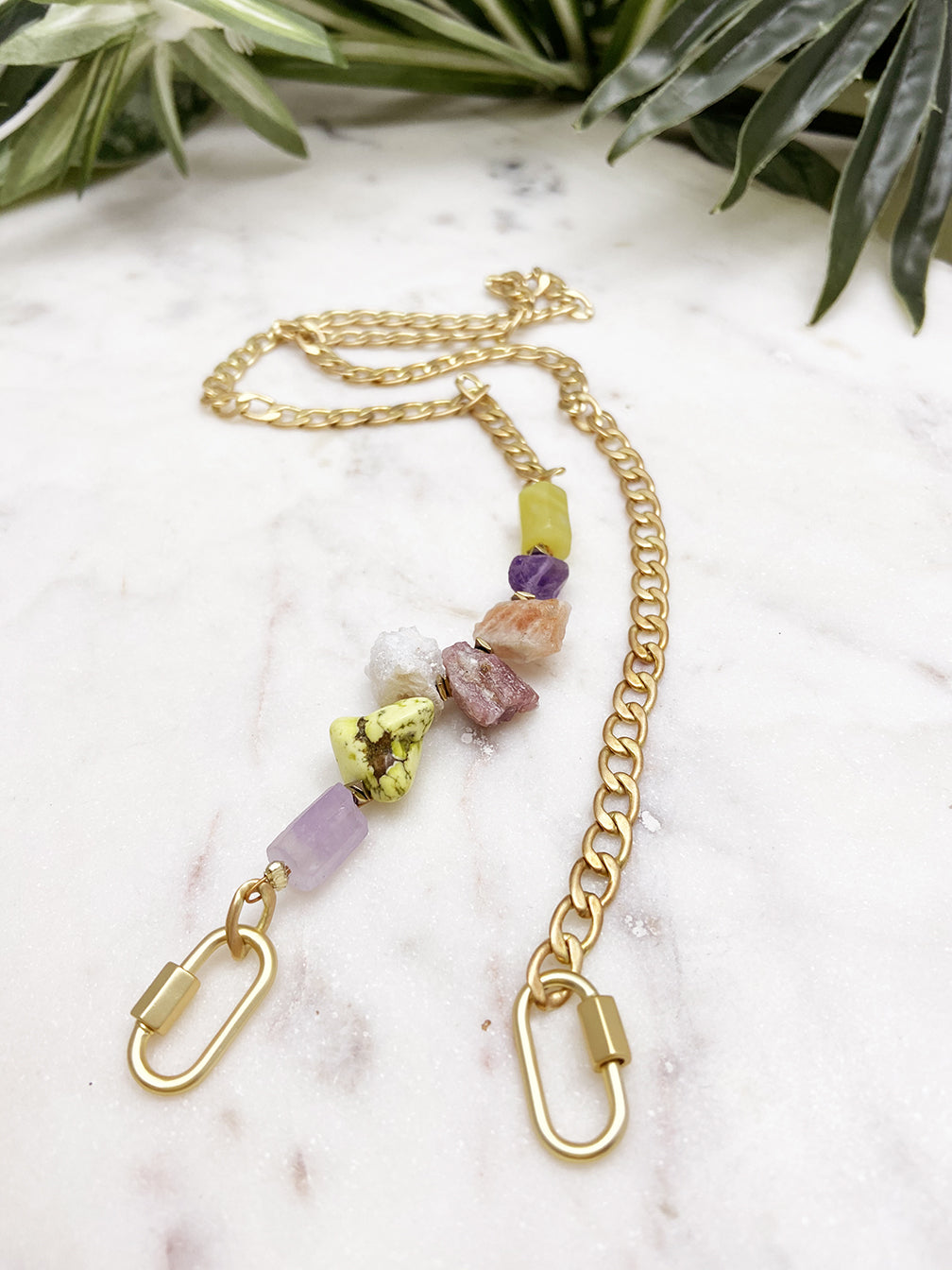 more than a mask chain - lime green and lavender