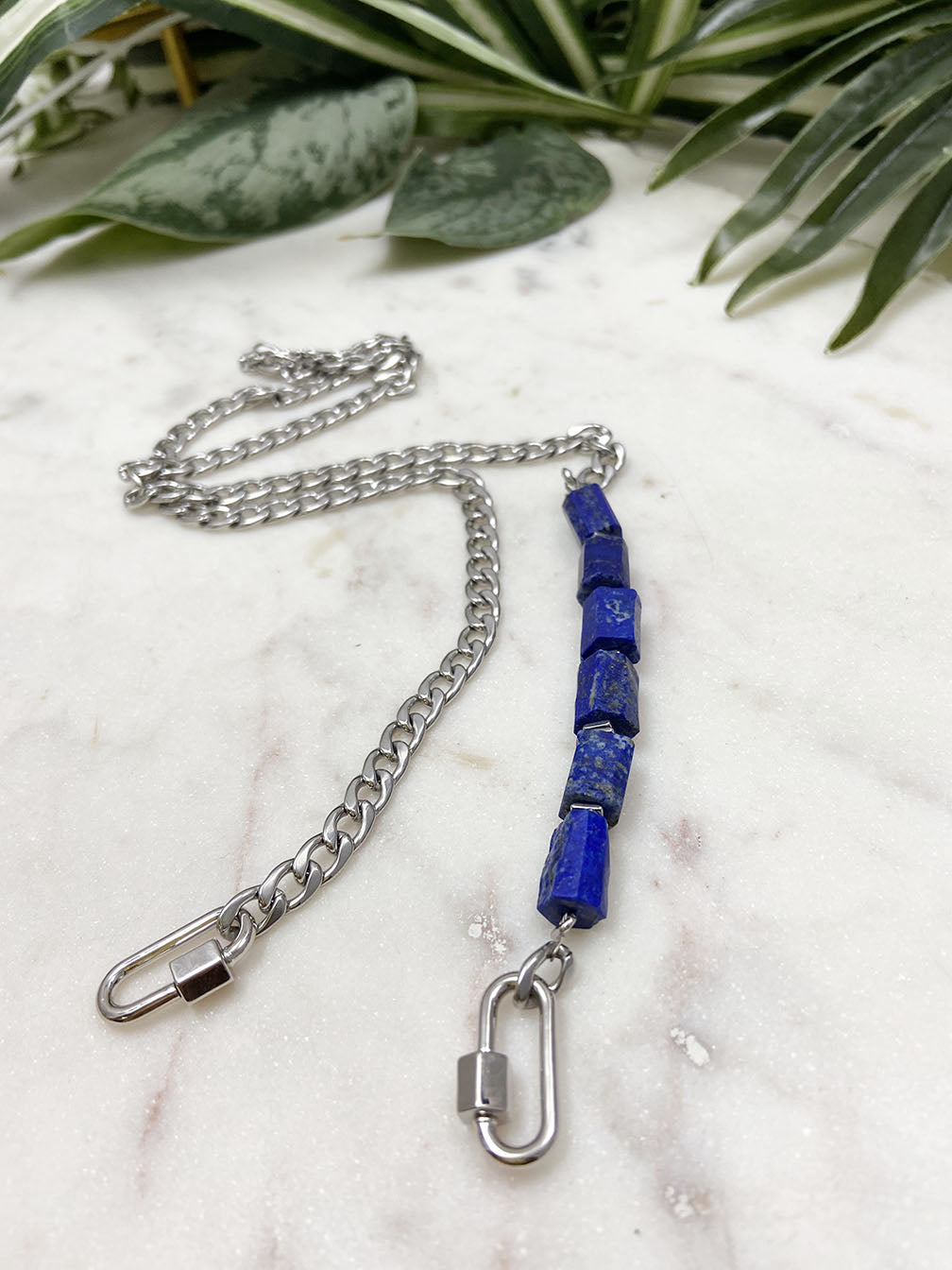 more than a mask chain (silver)- lapis lazuli