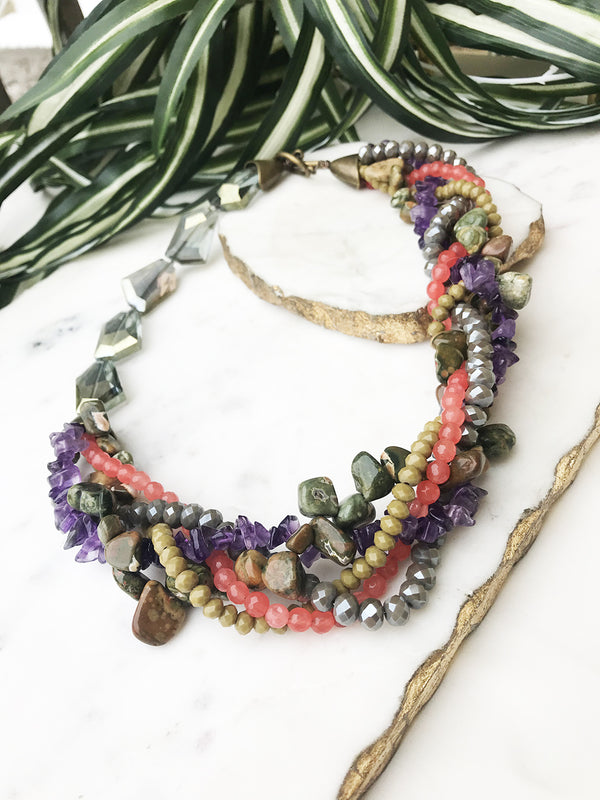 Amethyst, moss agate and coral mingle necklace