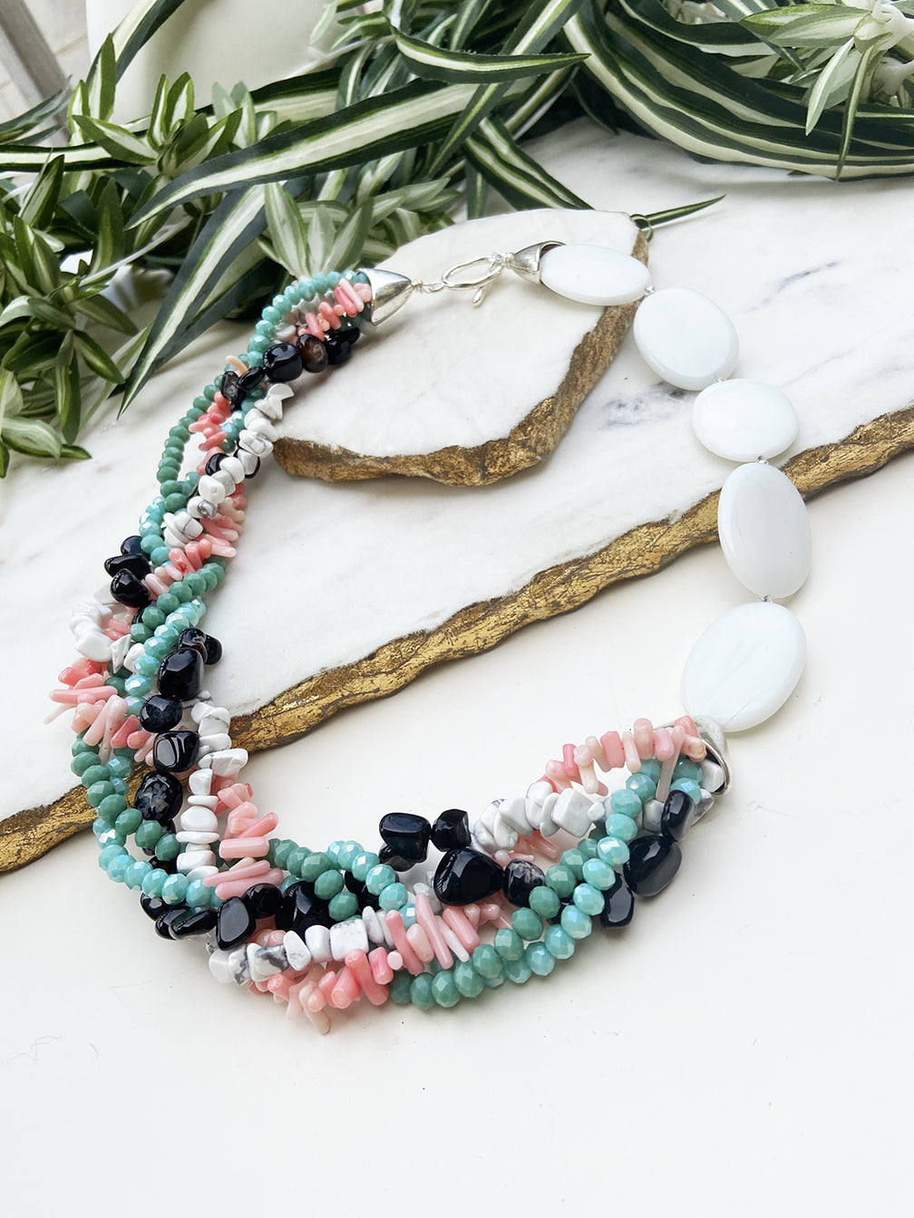Black, pink and turquoise mingle necklace