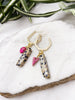 rebel earrings - dalmatian jasper and hot pink