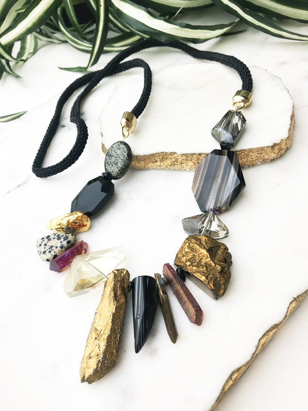 Black and neutral riot necklace