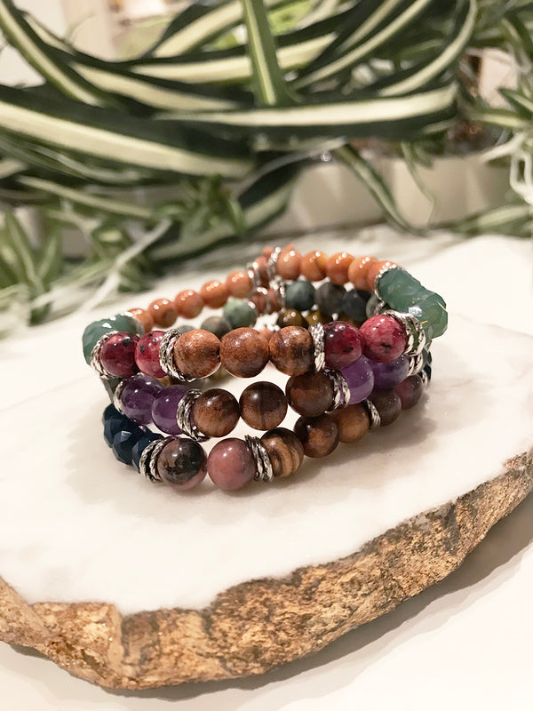 custom therapy bracelet stack - TH-3X-03-BR