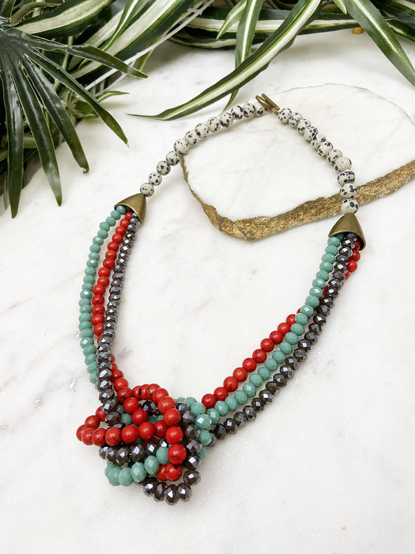 red and mint uptown necklace