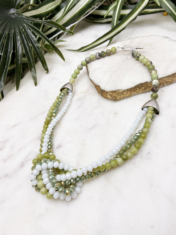 white and olive jade uptown necklace