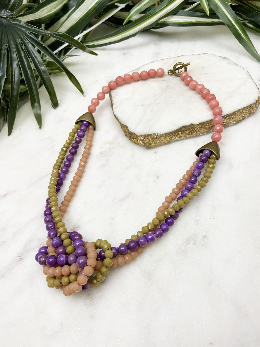 purple and peach uptown necklace