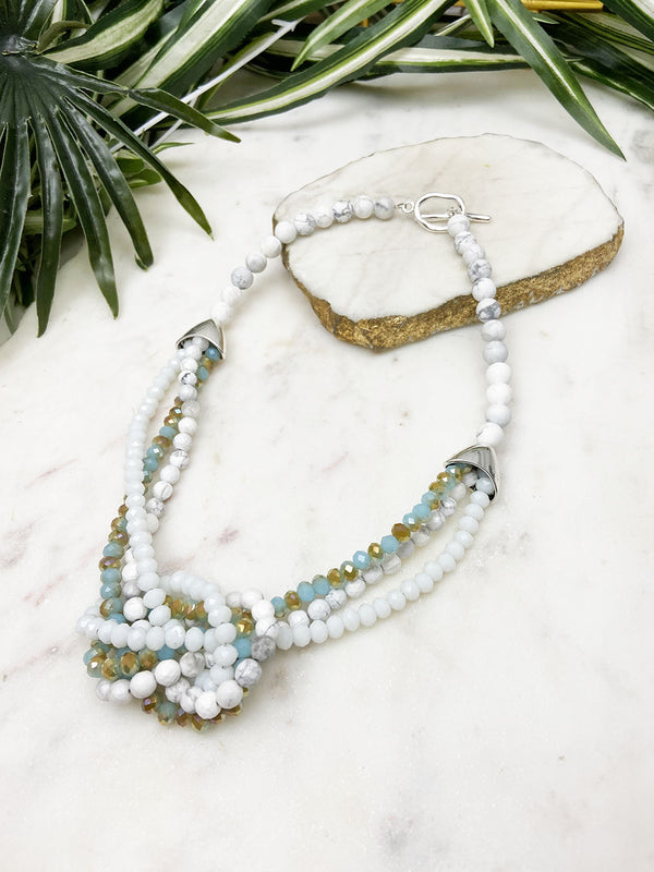 white howlite and aqua uptown necklace