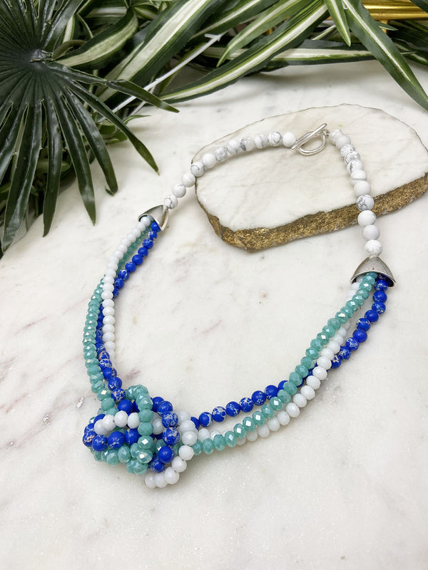 white, blue and turquoise uptown necklace