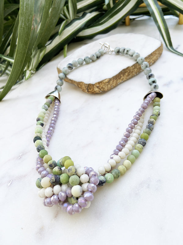grass turquoise and lavender uptown necklace
