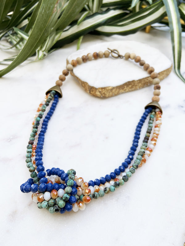 african turquoise, periwinkle and orange uptown necklace