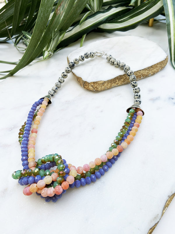 peach agate, purple and green uptown necklace