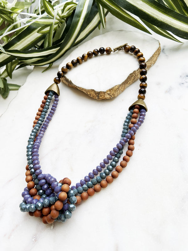 sandalwood and purple uptown necklace