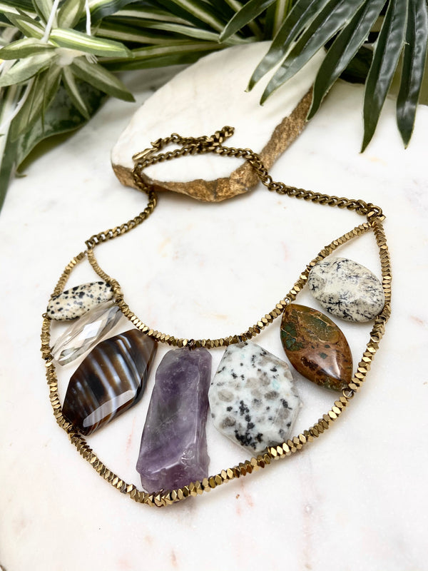 strut necklace - amethyst and neutrals