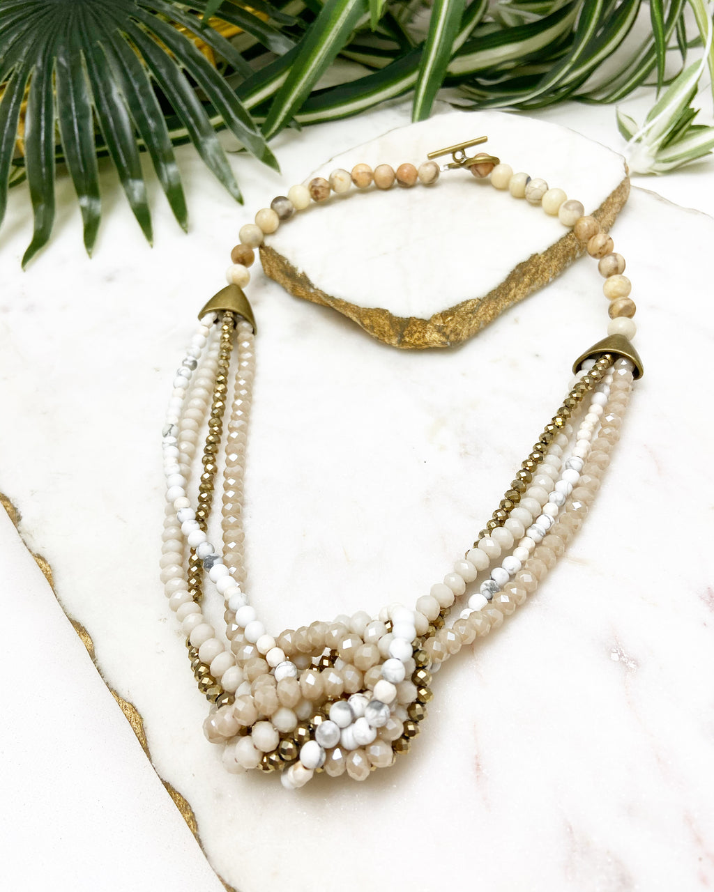 white, taupe and gold uptown necklace