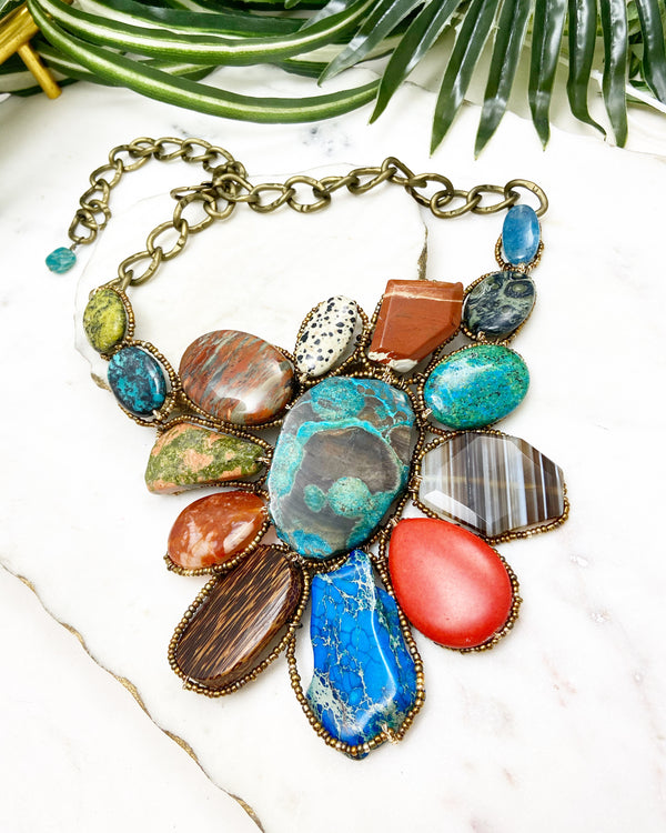 goddess necklace - blue, red and orange