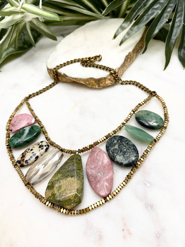 Strut necklace - pink, green and gold