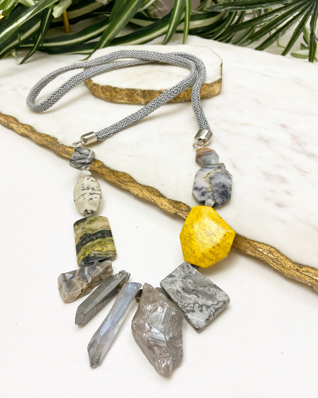 riot necklace - grey and yellow