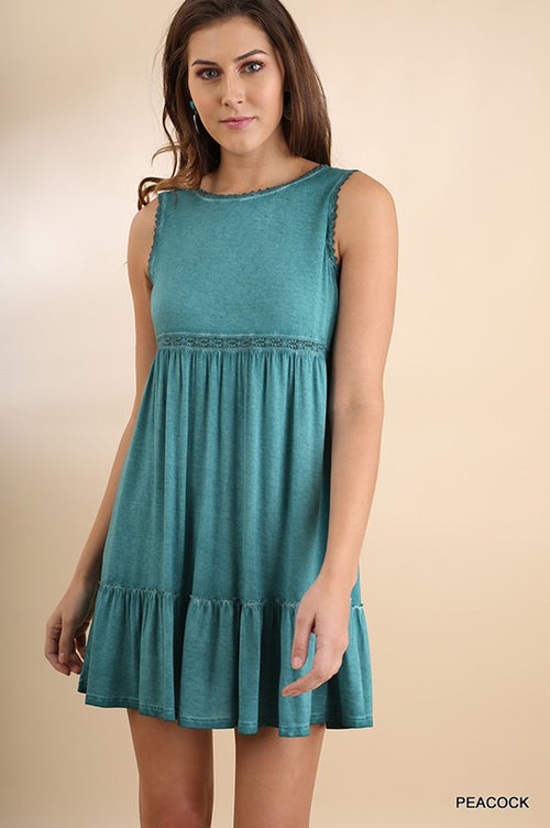 Crochet Acid Washed Flaring Sleeveless Dress