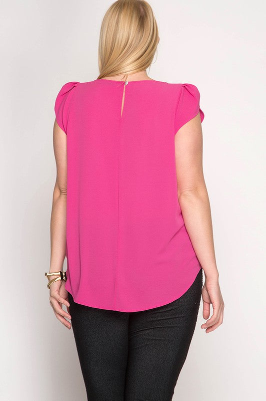 Fuchsia Tulip Sleeve Top