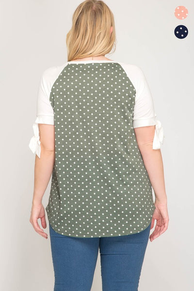 Polka Dot Dusty Sage Top