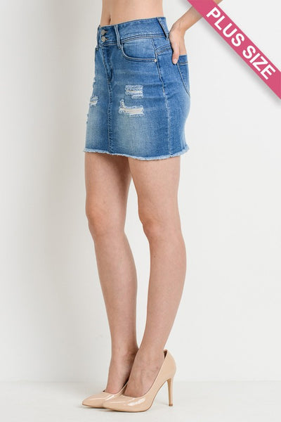 Distressed Plus size Denim Skirt