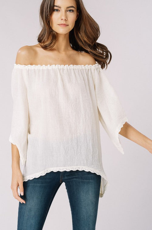 Cotton crocheted lace off the shoulder top