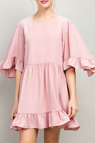 Ruffle sleeves and hem flaring accent pink dress