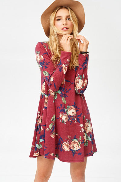 Red Floral Dress with Pockets - Southern Chique Boutique