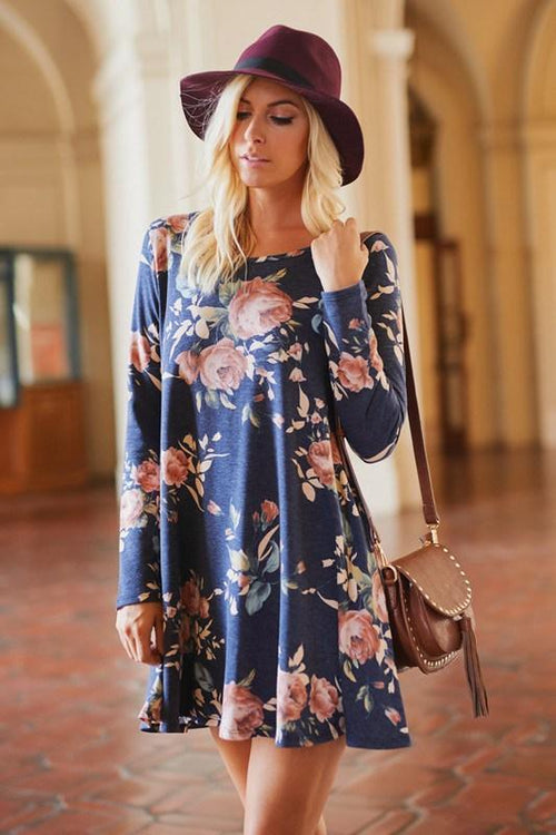 Navy Floral Dress with Pockets - Southern Chique Boutique