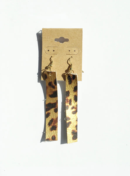 Metallic Leopard Bar Leather Earrings