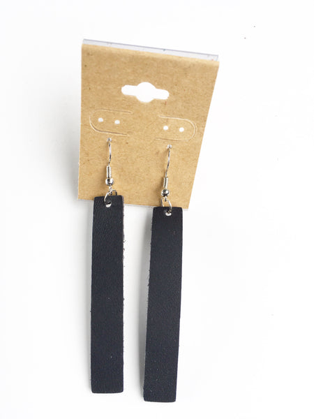 Navy Bar Leather Earrings