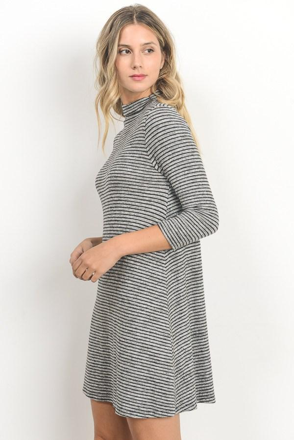 Turtleneck A-Line Tunic Dress with 3/4 Sleeves - Southern Chique Boutique