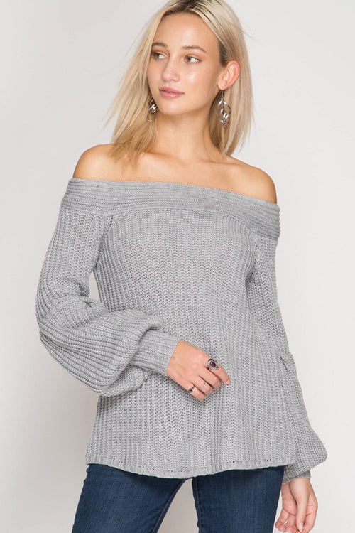 Grey Balloon Sleeve Off the Shoulder Sweater - Southern Chique Boutique